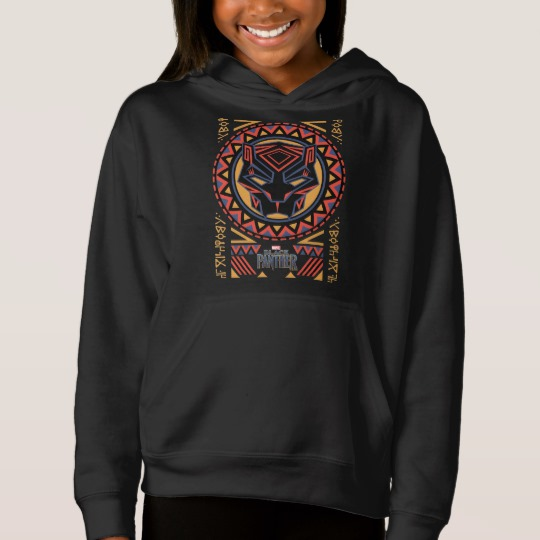 Black Panther Tribal Head Girls' Fleece Pullover Hoodie