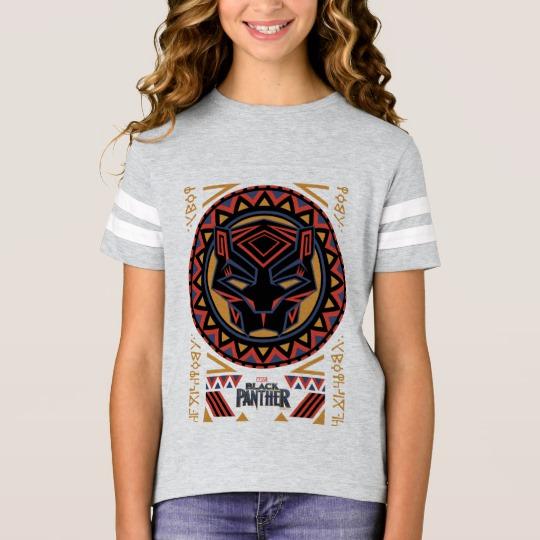 Black Panther Tribal Head Girls' Football Shirt