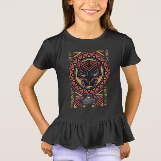 Black Panther Tribal Head Girls' Ruffle T-Shirt