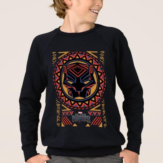 Black Panther Tribal Head Kids' American Apparel Raglan Sweatshirt