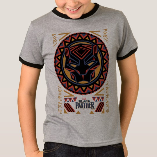 Black Panther Tribal Head Kids' Basic Ringer T-Shirt