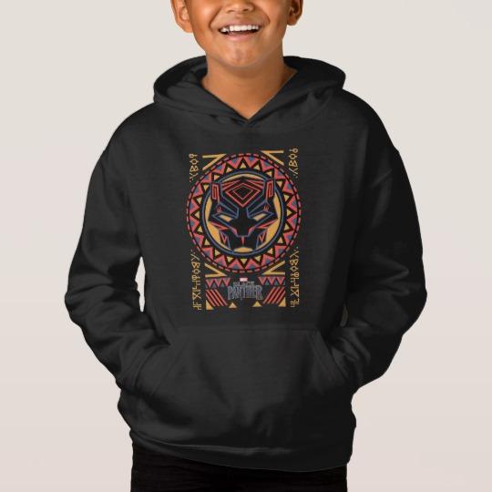 Black Panther Tribal Head Kids' Fleece Pullover Hoodie