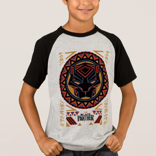 Black Panther Tribal Head Kids' Short Sleeve Raglan T-Shirt