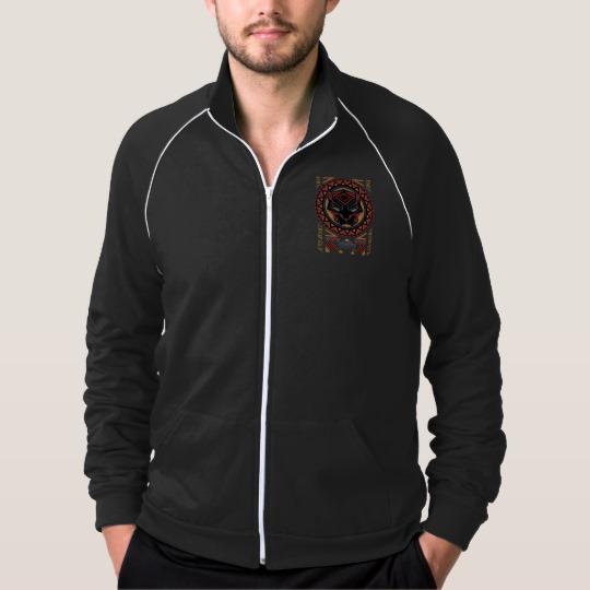 Black Panther Tribal Head Men's American Apparel California Fleece Track Jacket