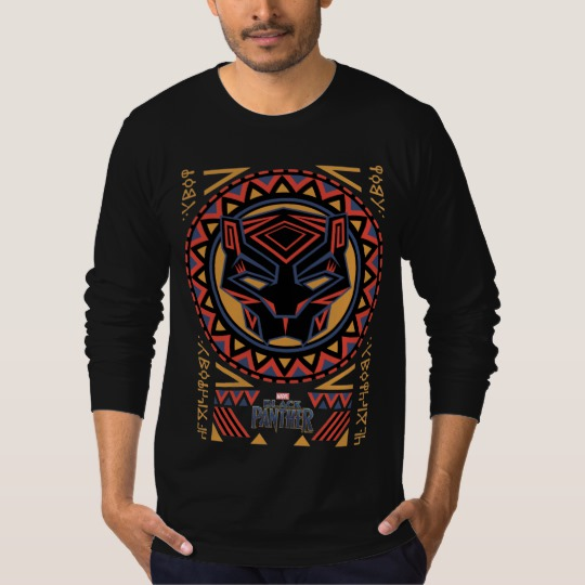 Black Panther Tribal Head Men's American Apparel Fine Jersey Long Sleeve T-Shirt