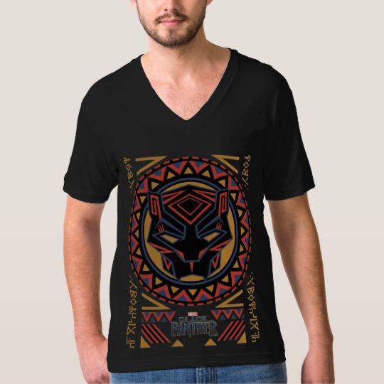Black Panther Tribal Head Men's American Apparel Fine Jersey V-neck T-Shirt