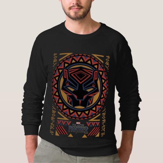 Black Panther Tribal Head Men's American Apparel Raglan Sweatshirt