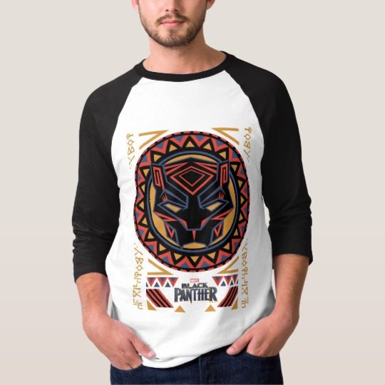 Black Panther Tribal Head Men's Basic 3/4 Sleeve Raglan T-Shirt