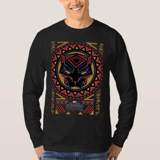 Black Panther Tribal Head Men's Basic Long Sleeve T-Shirt