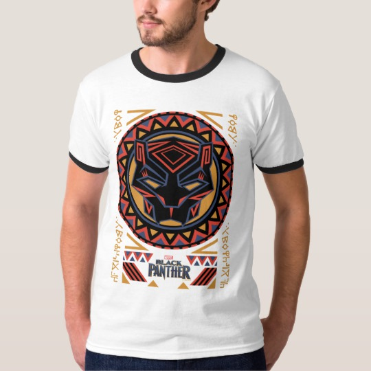 Black Panther Tribal Head Men's Basic Ringer T-Shirt