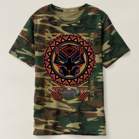 Black Panther Tribal Head Men's Camouflage T-Shirt