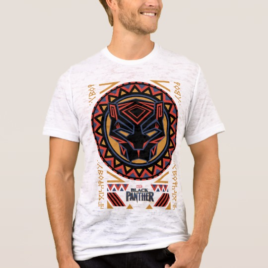 Black Panther Tribal Head Men's Canvas Fitted Burnout T-Shirt