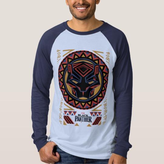 Black Panther Tribal Head Men's Canvas Long Sleeve Raglan T-Shirt