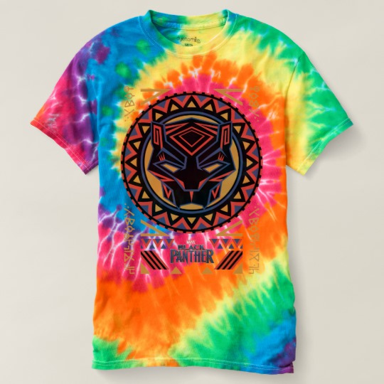 Black Panther Tribal Head Men's Spiral Tie-Dye T-Shirt