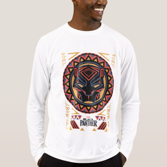 Black Panther Tribal Head Men's Sport-Tek Fitted Performance Long Sleeve T-Shirt