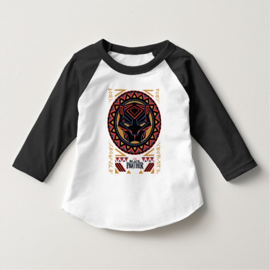 Black Panther Tribal Head Toddler American Apparel 3/4 Sleeve Raglan T-Shirt