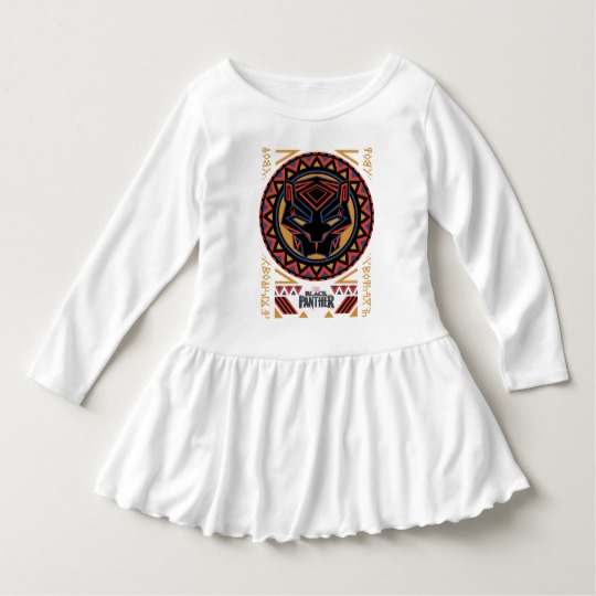 Black Panther Tribal Head Toddler Ruffle Dress