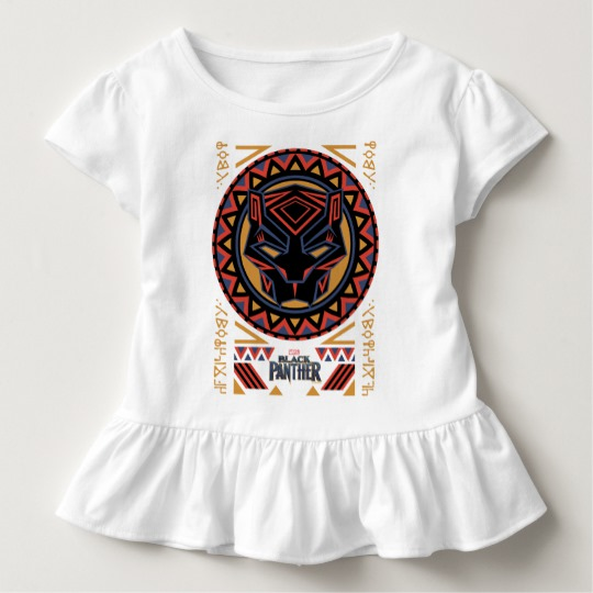 Black Panther Tribal Head Toddler Ruffle Tee