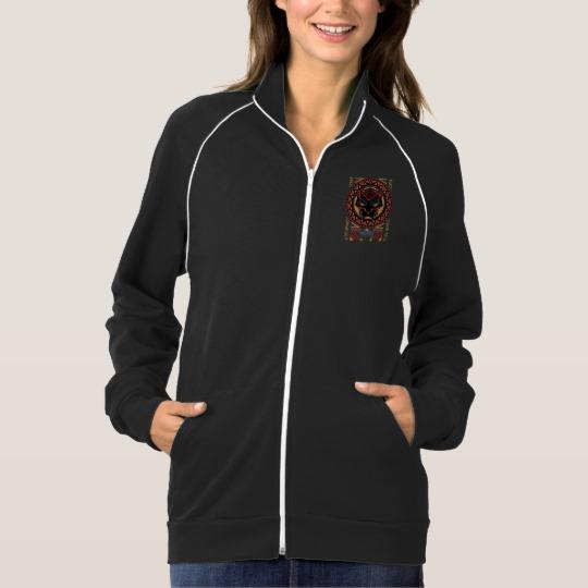 Black Panther Tribal Head Women's American Apparel California Fleece Track Jacket