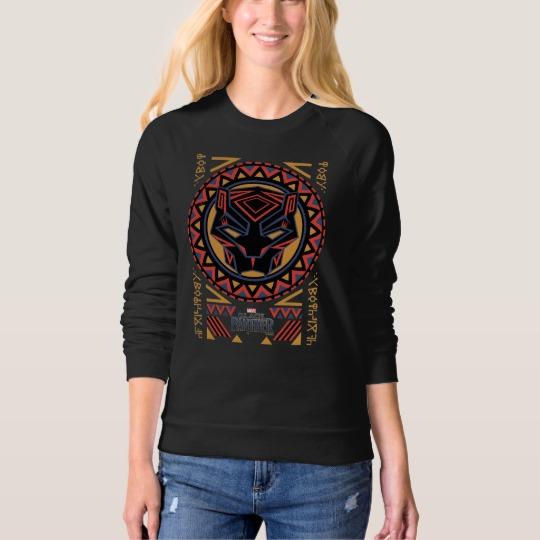 Black Panther Tribal Head Women's American Apparel Raglan Sweatshirt