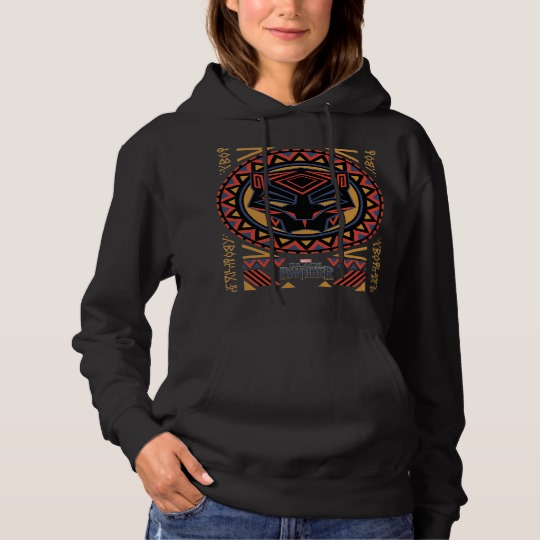 Black Panther Tribal Head Women's Basic Hooded Sweatshirt