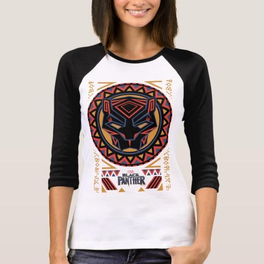 Black Panther Tribal Head Women's Bella+Canvas 3/4 Sleeve Raglan T-Shirt