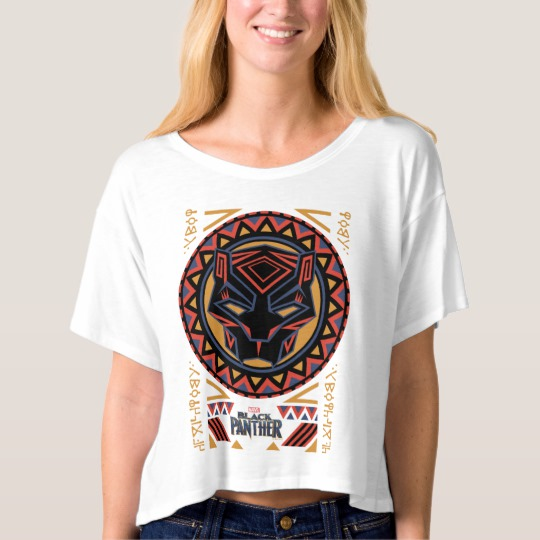 Black Panther Tribal Head Women's Bella+Canvas Boxy Crop Top T-Shirt