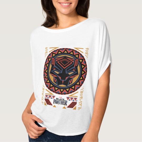 Black Panther Tribal Head Women's Bella+Canvas Flowy Circle Top