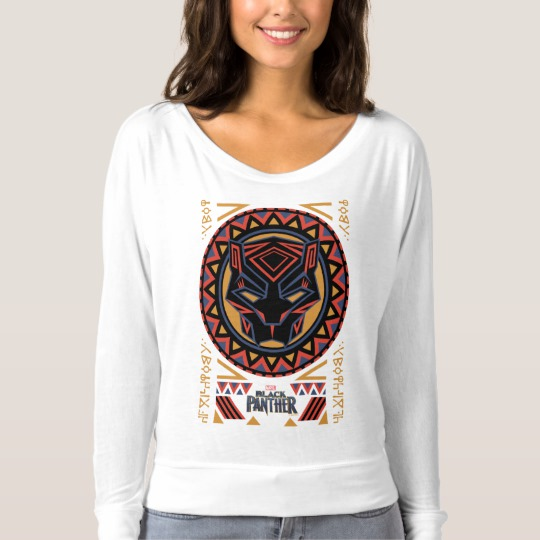 Black Panther Tribal Head Women's Bella+Canvas Flowy Off Shoulder Shirt