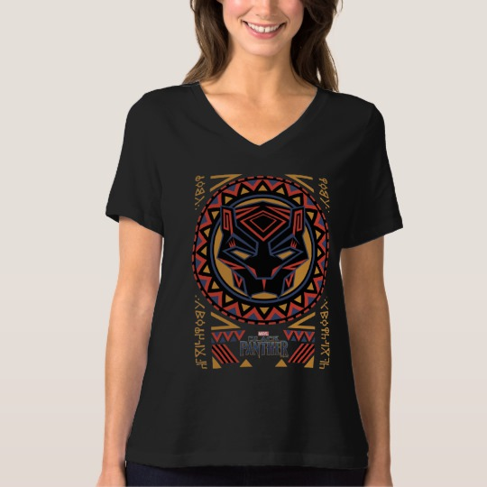 Black Panther Tribal Head Women's Bella+Canvas Relaxed Fit V-Neck T-Shirt