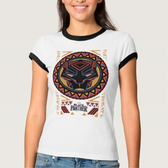 Black Panther Tribal Head Women's Bella+Canvas Ringer T-Shirt