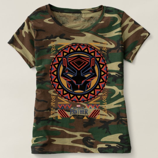 Black Panther Tribal Head Women's Camouflage T-Shirt