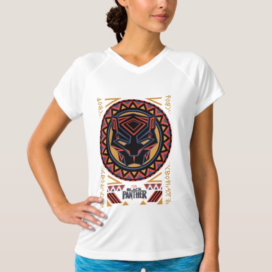 Black Panther Tribal Head Women's Champion Double-Dry V-Neck T-Shirt