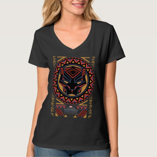 Black Panther Tribal Head Women's Hanes Nano V-Neck T-Shirt