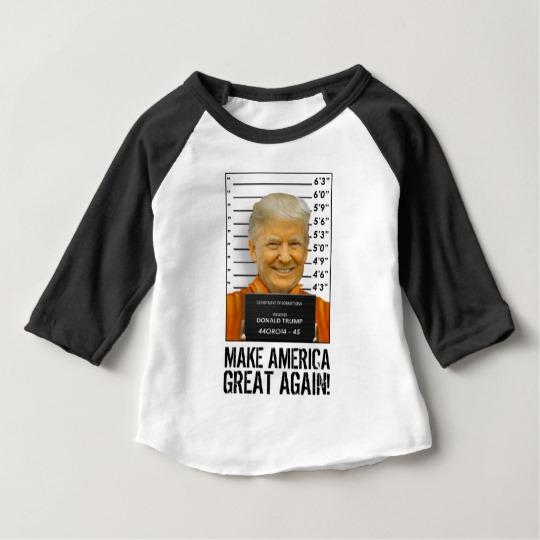 Trump Prison Mugshot MAGA Baby American Apparel 3/4 Sleeve Raglan T-Shirt
