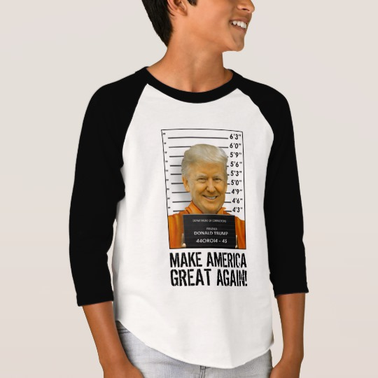 Trump Prison Mugshot MAGA Boys' American Apparel 3/4 Sleeve Raglan T-Shirt