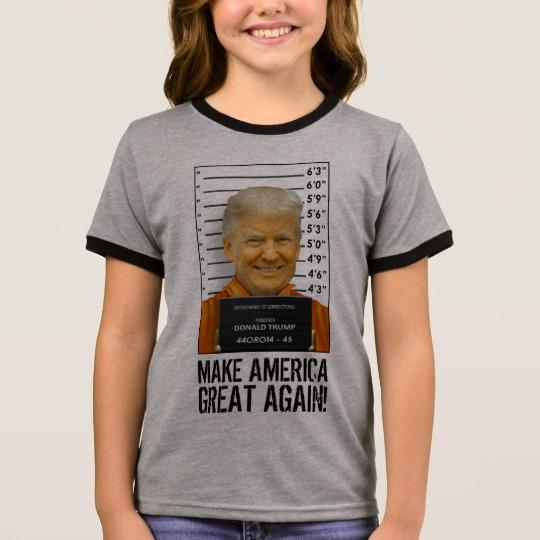 Trump Prison Mugshot MAGA Girl's Ringer T-Shirt