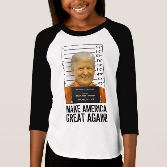Trump Prison Mugshot MAGA Girls' American Apparel 3/4 Sleeve Raglan T-Shirt