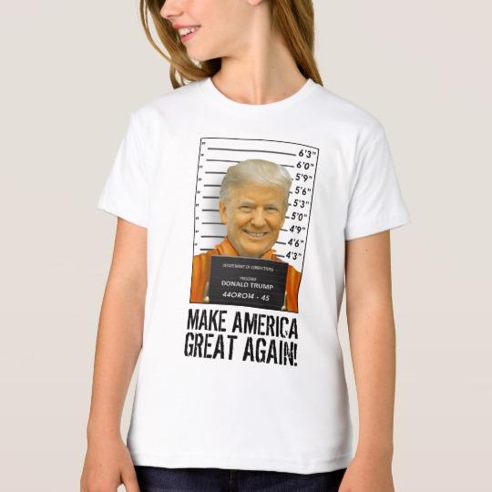 Trump Prison Mugshot MAGA Girls' American Apparel Organic T-Shirt