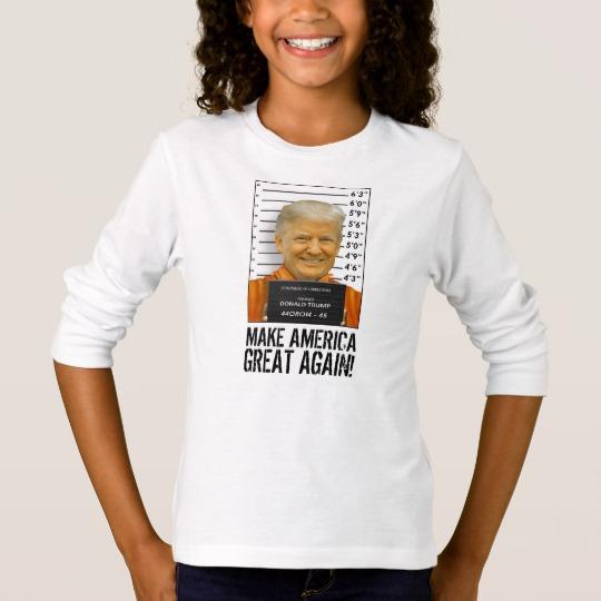 Trump Prison Mugshot MAGA Girls' Basic Long Sleeve T-Shirt