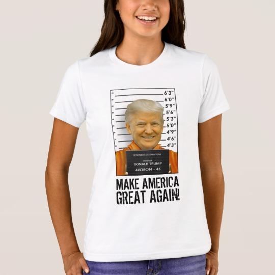 Trump Prison Mugshot MAGA Girls' Bella+Canvas Crew T-Shirt