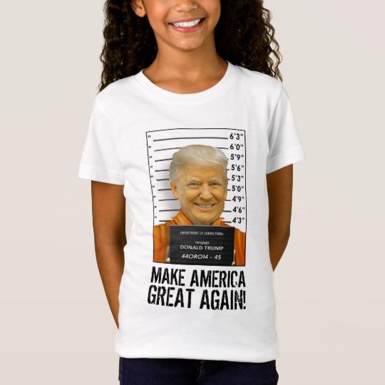 Trump Prison Mugshot MAGA Girls' Fine Jersey T-Shirt