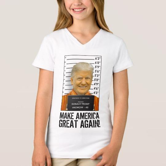 Trump Prison Mugshot MAGA Girls' Fine Jersey V-Neck T-Shirt