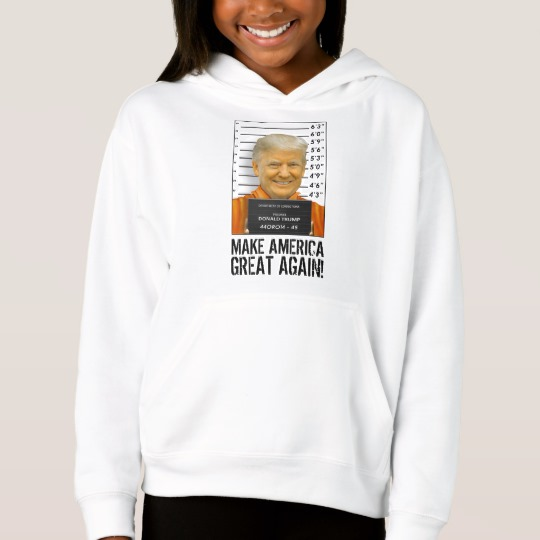 Trump Prison Mugshot MAGA Girls' Fleece Pullover Hoodie