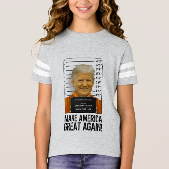 Trump Prison Mugshot MAGA Girls' Football Shirt