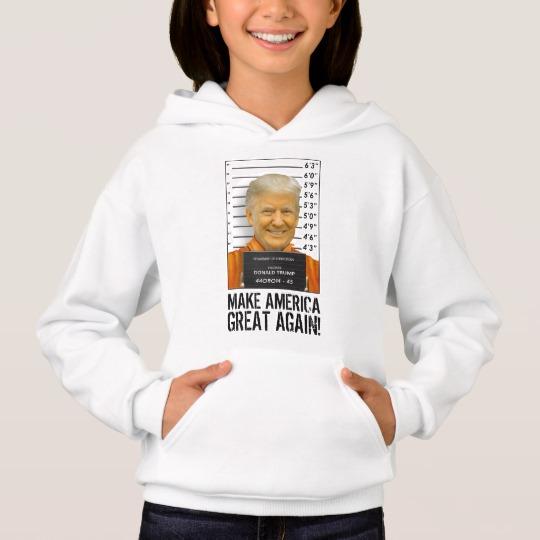 Trump Prison Mugshot MAGA Girls' Hanes ComfortBlend® Hoodie