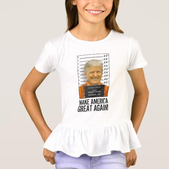 Trump Prison Mugshot MAGA Girls' Ruffle T-Shirt