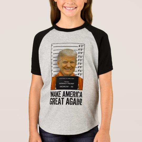 Trump Prison Mugshot MAGA Girls' Short Sleeve Raglan T-Shirt