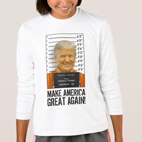 Trump Prison Mugshot MAGA Girls' Sport-Tek Competitor Long Sleeve T-Shirt