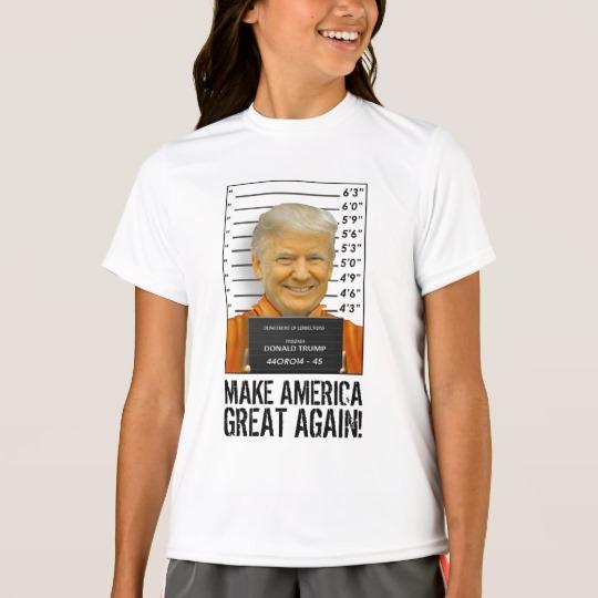 Trump Prison Mugshot MAGA Girls' Sport-Tek Competitor T-Shirt